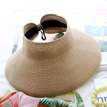 цена на Female Summer Hat Empty Top Straw Hat Beach Sun UV Protection Caps Adjustable Sunscreen Beach Visor Cap Outdoor Cycling Sun Hat