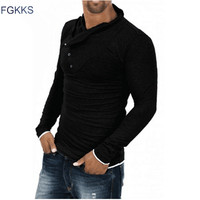 2015 New Arrival T Shirt Men Fashion Solid Color Slim Fit Cool Long Sleeve Black T