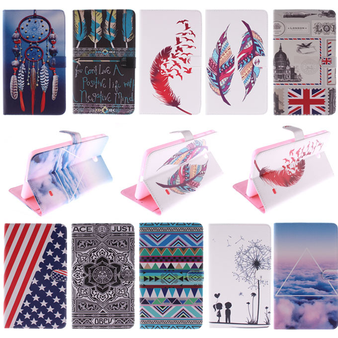 Fashion 10 Patterns for Samsung Galaxy Tab 4 7.0 T230 T231 T235 Leather Case Cover Stand for Galaxy T230 Tablet Cases M4A36D