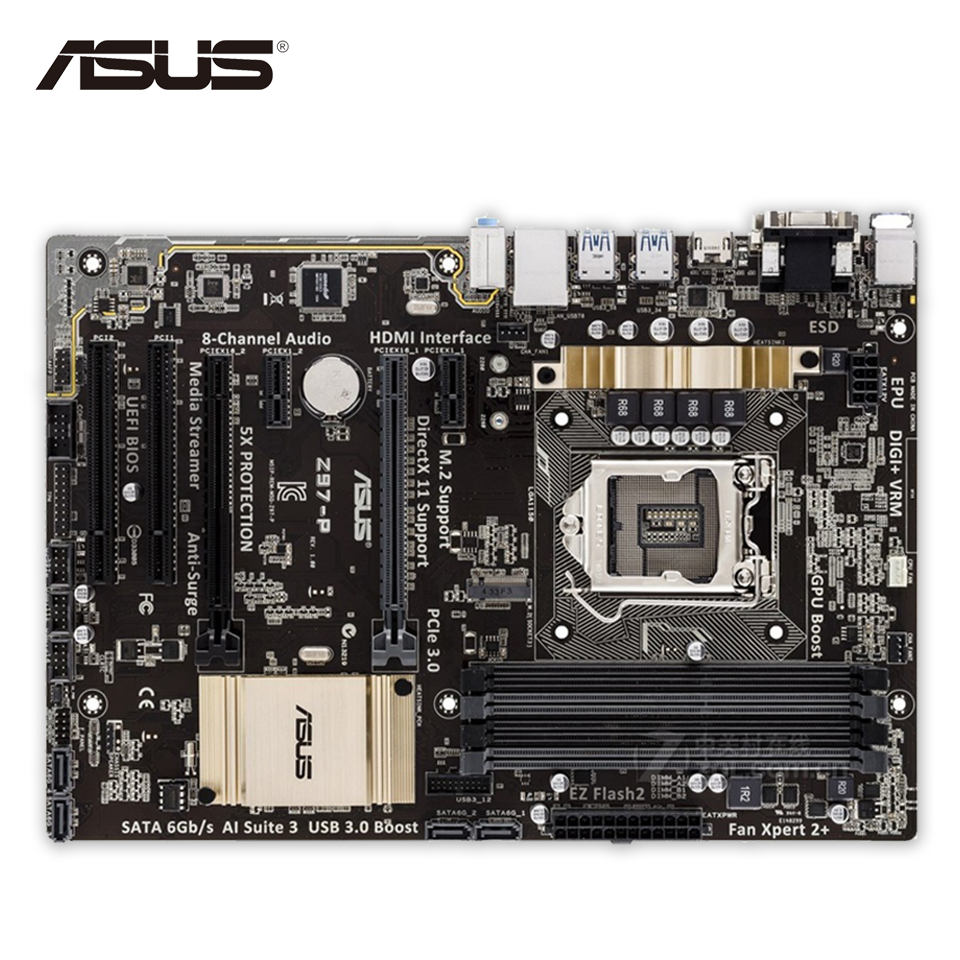 Asus Z97-P Desktop Motherboard Z97 Socket LGA 1150 i7 i5 i3 DDR3 32G SATA3 USB3.0 ATX Second-hand High Quality