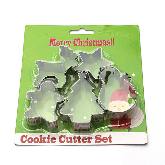 5pcs christmas cookie moulds stainless steel cookie cutters metal cookie mold cake cookie biscuit moulds diy - Metal Christmas Cookie Cutters