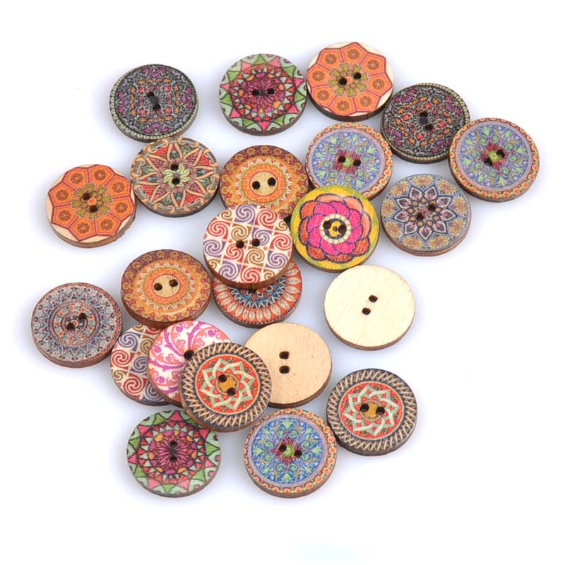 20mm WOODEN BUTTONS MIXED SEWING BUTTONS 2 HOLE WOOD BUTTONS CRAFTS SCRAPBOOKING
