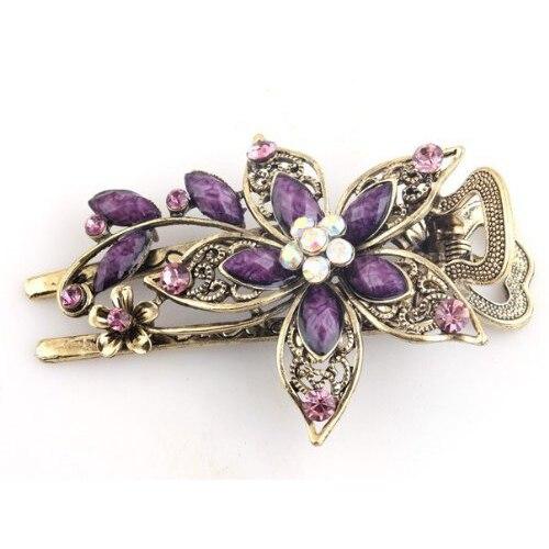 Moda 1 pieza señora Vintage elegante flor pelo Clip cristal horquilla Barrette joyería regalo