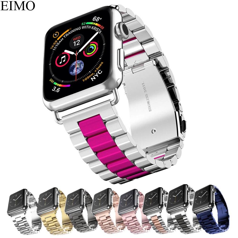 Faixa de Relógio de Aço Inoxidável Strap Para Apple 42 EIMO mm 38mm Iwatch Série 4 3 2 1 44mm 40mm Clássico Ligação Pulseira Pulseira de Pulso