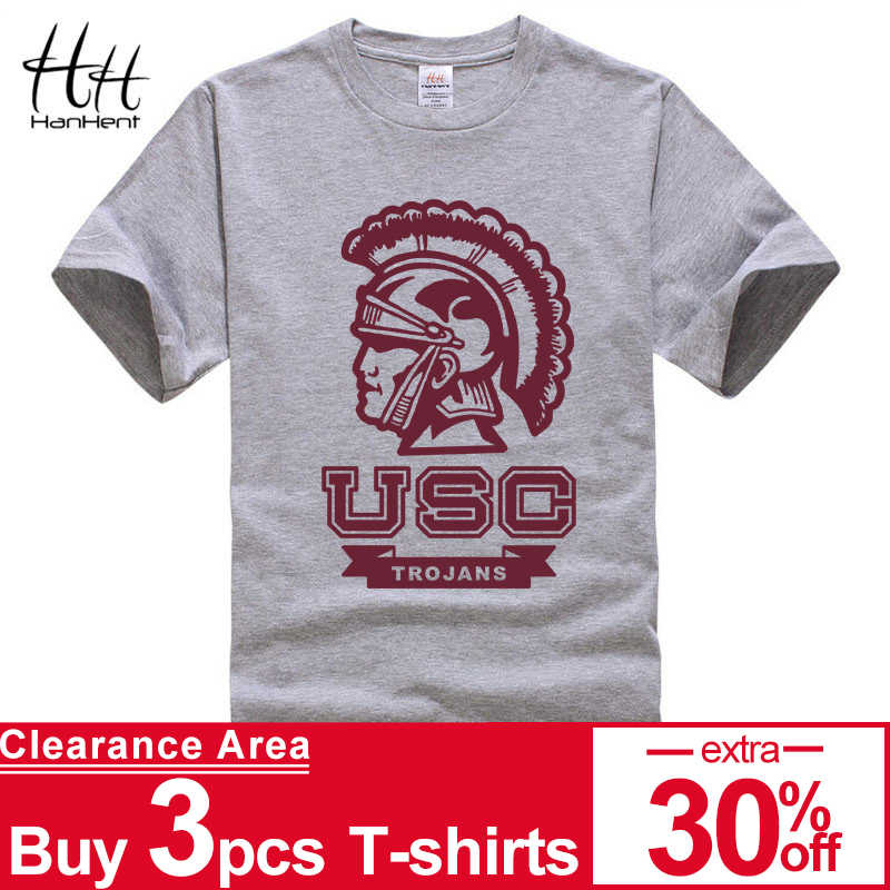 03f84074f HanHent 2017 Fashion USC TROJANS Printed Men Casual Shirt Summer Short  Sleeve T-shirt Hipster