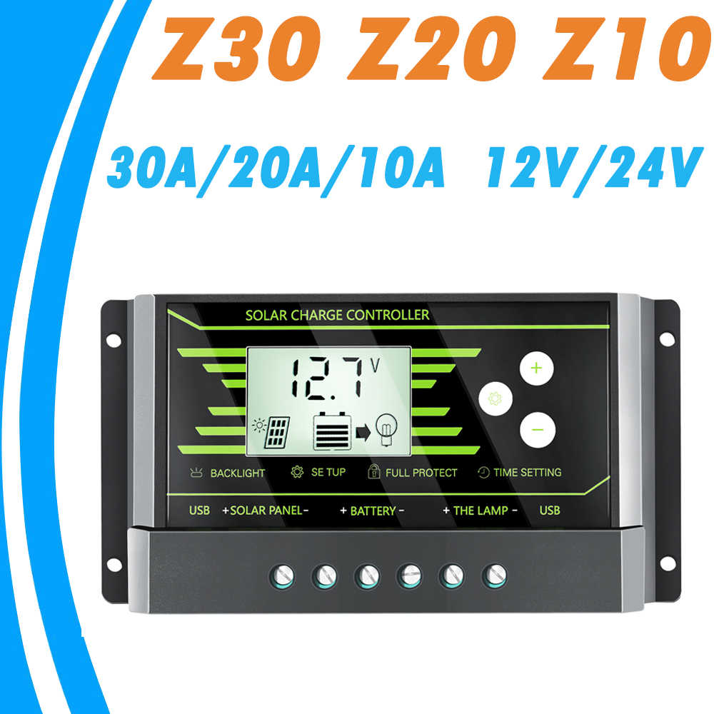 PWM 10A 20A 30A Solar Controller 12V 24V Auto Backlight LCD Solar Panel Charger with Dual USB 5V Z Series Solar Regulator Newest