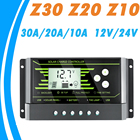12V 24V PWM 10A 20A 30A Solar Controller Backlight LCD Solar Charge Controller with Dual USB 5V New Design Z Series Solar Energy