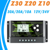 12V 24V PWM Solar Controller Backlight LCD Solar Charge Controller with Dual USB 5V New Design Z Series 10A 20A 30A Solar Energy