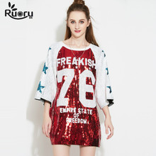Ruoru Star Letters Printed T Shirt Women Sequined Bling Long T-shirt Women Plus Size Bell Sleeve Women Tops Hiphop Tee Shirt long plus size kitten printed bell sleeve ruffle top