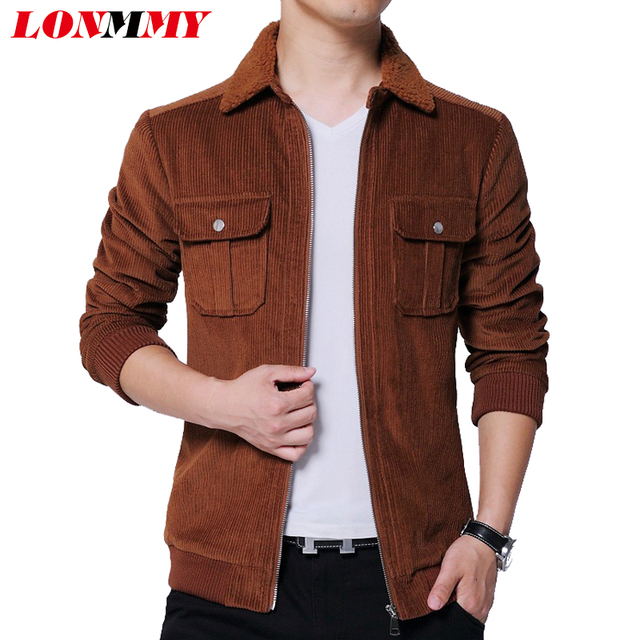 4a01d8d1d44 LONMMY 4XL 5XL Corduroy jacket men Casual lapel Cashmere collar Slim fit  mens jackets and coats streetwear Outerwear Dark brown