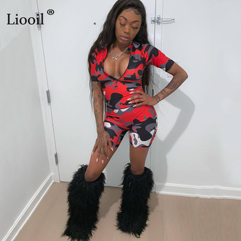 Liooil Red Camouflage Bodycon Playsuit 2019 Sexy One Piece Jumpsuits Women Club Wear Zip Up Romper Party Tight Jumpsuit Shorts 2