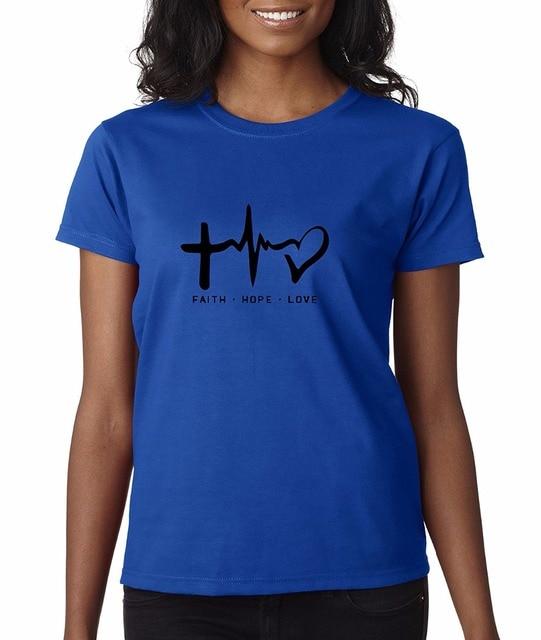 89204011cb4 Women T Shirt 2018 Summer Cool T-Shirts Designs Best Selling Women Faith  Hope Love Inspirational Foundationcool Tee Shirts