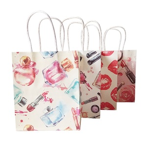 Image 4 - 50 Pcs/lot 15x18cm Cosmetic Pattern Printing Paper Bags With Handle Gift Bags Party Favor Wedding Packaging Storage Bags