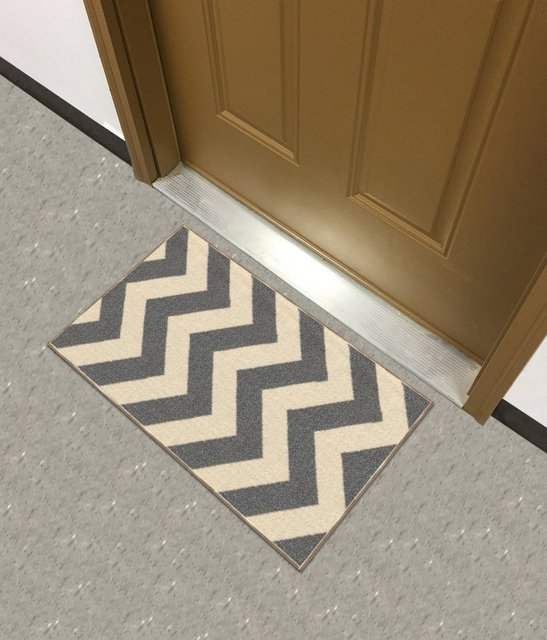 Rich Chevron Grey Ivory Zig Zag Doormat Accent Non Slip Rug Rana Collection