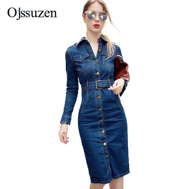 d295861ec312 New 2018 Office Ladies Bodycon Denim Dress Women Long Sleeve Knee Length Jeans  Dress Button Sexy Summer Dress Blue With Belt