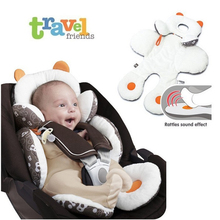 Baby Stroller Safety Cushion Rattle 0-6 Months Child Soft Seats Mat Multifunctional Stroller Protection Accessory
