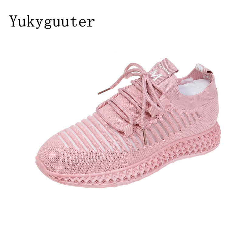 Woman Sports Running Shoes Flats Outdoor Sneakers Mesh Summer Breathable Lightweight Athletic Women Lace Up Platform
