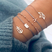 Fashion Bohemian Charm Bracelets for Women Bow Knot Round Knit Braided Rope Female Bracelet Set Party Jewelry Multiple Styles