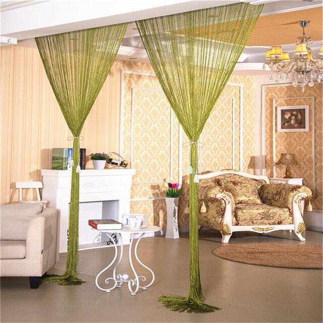 1 2m Door String Curtain Rare Flat Silver Ribbon Thread Fringe Window Panel Room Divider