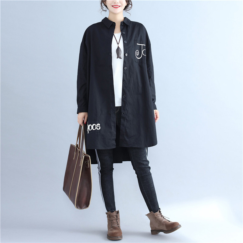 Johnature New Turn-down Collar Full Sleeve Solid Color Floral Print Cotton Linen   Trench   2019 Autumn Irregular Loose Women Coats
