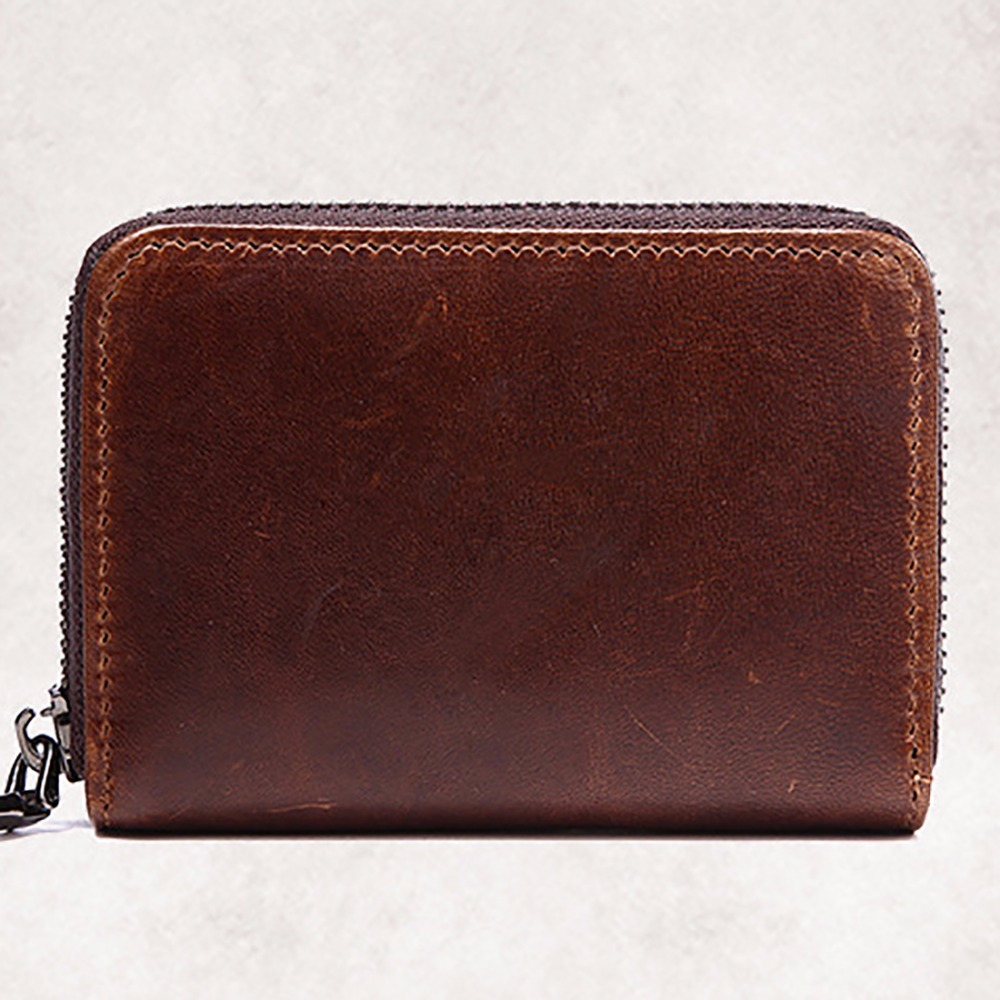High Quality Cowhide Genuine Leather Men Short Purse Vintage Designer Clutch Pouch Card Holder Coin Pocket Zipper Bifold Wallet 2017 genuine cowhide leather brand women wallet short design lady small coin purse mini clutch cartera high quality