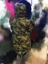 Customized Italy style blue fur hooded camouflage parka faux fur / fox fur / rabbit fur inside long jacket coats
