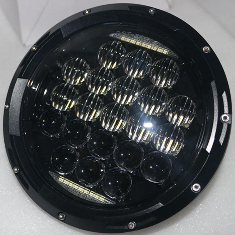 ФОТО 2 X 7 inch 75W 5D LED Headlight Projector with Halo Angel Eye Ring & DRL for JEEP JK Wrangler Headlamp