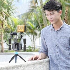 Image 5 - PULUZ Vlogging שידור חי LED Selfie אור Smartphone וידאו Rig ערכות עם מיקרופון קר נעל חצובה הר אביזרים