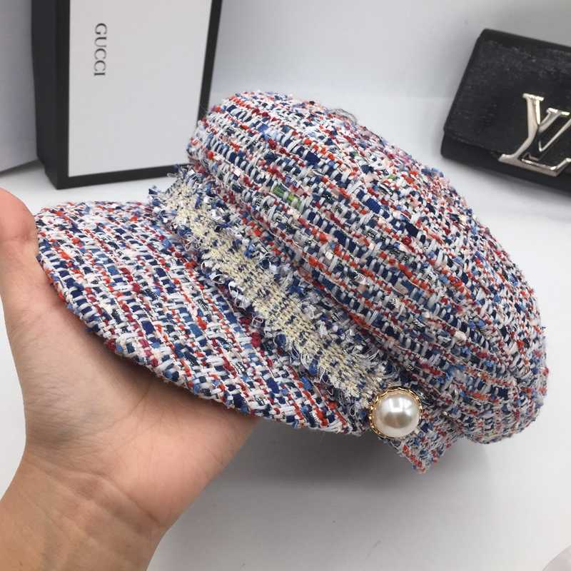 3728eed1506a4 ... Melange knitting small sweet wind octagonal cap cap navy sailor hat  female pearl clasp fashion leisure ...