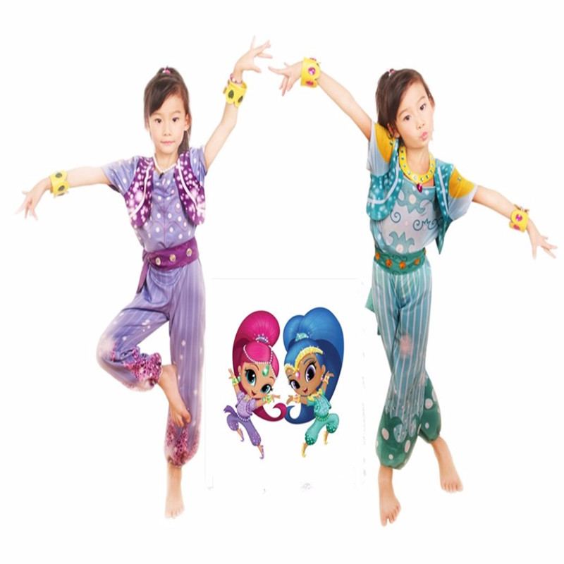 2017 High-quality Shimmer And Shine Cosplay Boxed Shimmer Dress Up Set Pre School Costume Girls Outfit Shimmer And Shine Costume