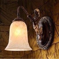 Européenne classique conception charme sirène verre mur lampes Élégant gravé résine lumières pour allée et couloir et porche ZLBD035
