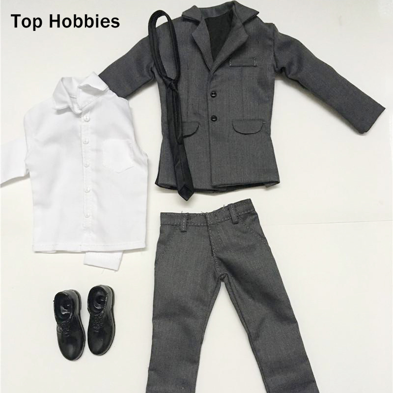 Model Scale 1:6 Male Gray Set Suit Trousers Clothing Accessories For 12Phicen Action Figures Men Model Toys Doll 1 6 scale figure doll clothes male batman joker suit for 12 action figure doll accessories not include doll and other 1584