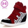 BZBFSKY Marcas 2017 Mulheres Sapatos Casuais Elevador Botas Mulheres High Top Botas de camurça sintética Leopardo zapatos mujer Tenis Femininos