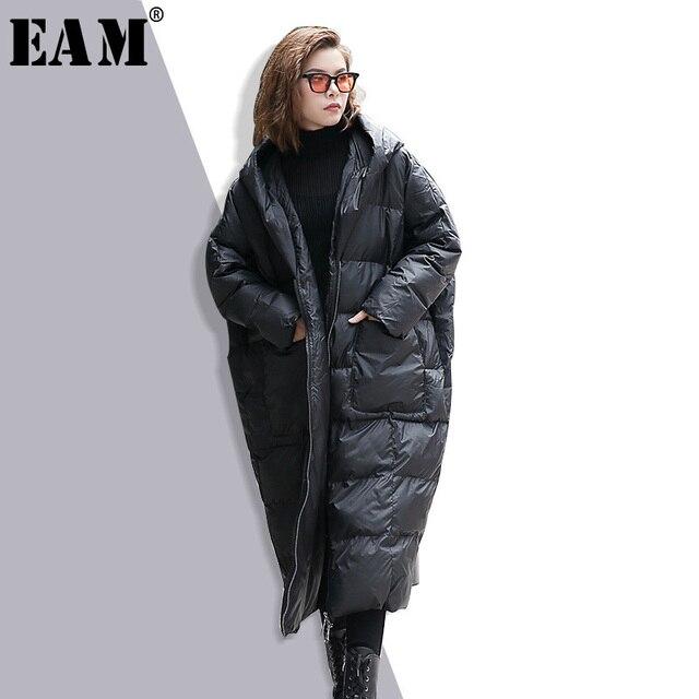 [Eam] 2018新しい春冬フード付きロングスリーブ無地黒綿が詰め緩い大きなサイズjacke女性ファッション潮JD12101