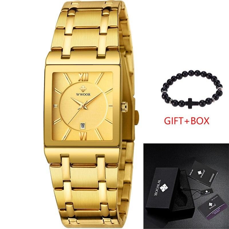 Relojes de marca de lujo dorado para hombre, relojes de negocios, relojes cuadrados militares de cuarzo para hombre, relojes de pulsera informales con correa de acero inoxidable, regalo - 2