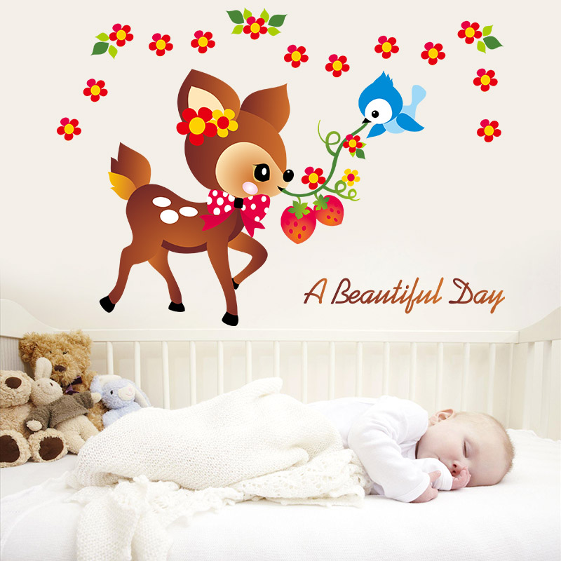 Flor Deer Aves historieta DIY lindo animal pared pegatina niños bebé ...