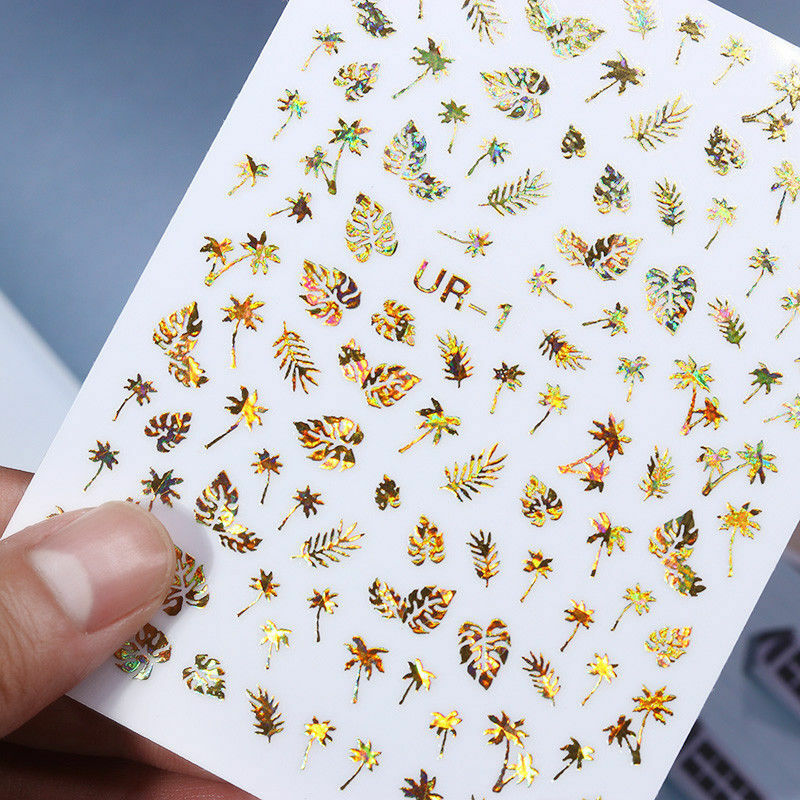 Image 5 - New 1 Sheet Holographic Gold 3D Nail Sticker Coconut Tree Leaf Holo Laser Adhesive Decal Sticker Manicure Nail Art Decoration-in Stickers & Decals from Beauty & Health