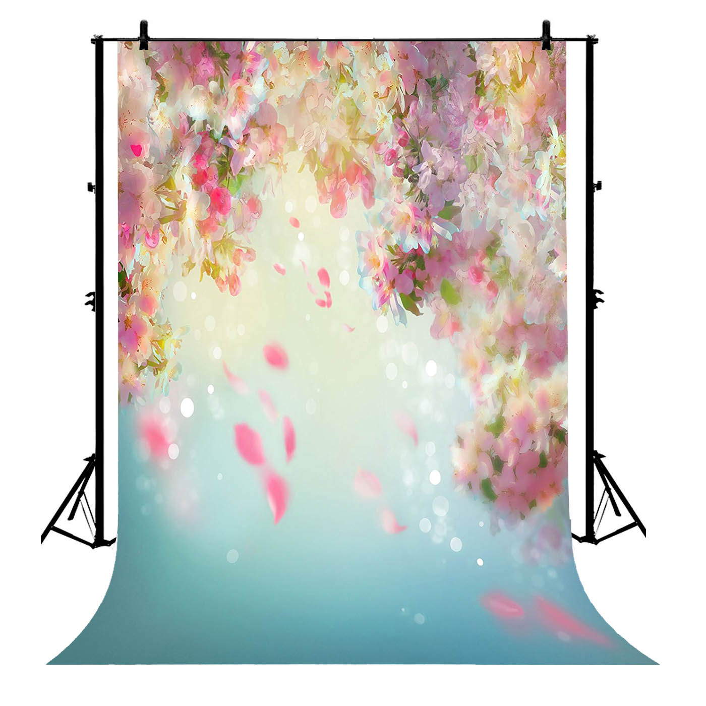 5x7ft Pink Flowers Blur Polyester Photo Background Portrait Backdrop