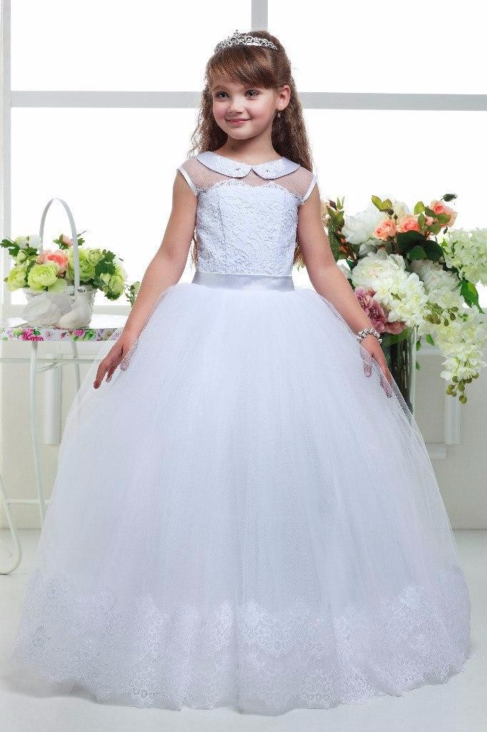 New Arrival 2017 White Ball Gown   Flower     Girl     Dresses   Cap Sleeves Lace Up Wedding Party Gowns Ribbons Long Kids   Dress   M1584