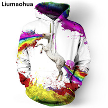 Liu Maohua new womens clothing / mens rainbow unicorn print animal 3d horse hooded pullover colorful round neck h