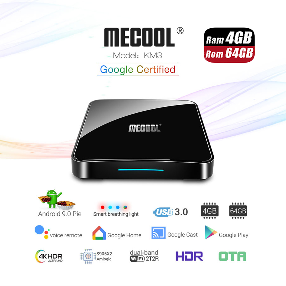 Google Certified TV Box Mecool KM3 ATV Android 9 0 4G 64G Amlogic S905X2 Voice Control