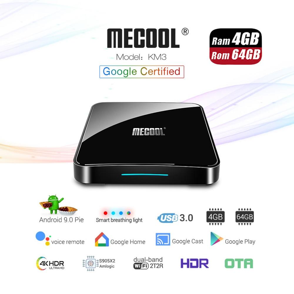 Google Certified TV Box Mecool KM3 ATV Android 9 0 4G 64G Amlogic S905X2 Voice Control