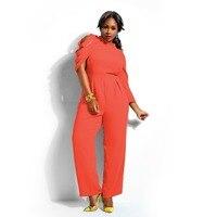 Adogirl المرأة زائد حجم واحد shouler الشيفون بذلة 2016 سيدة مثير السراويل واسعة أرجل طويلة حللا سوداء البرتقال قطعة واحدة رومبير