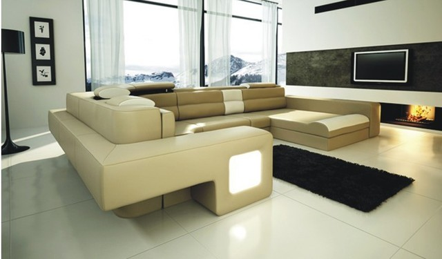 Sistema del sof de cuero esquina muebles modernos muebles for Juego de muebles para sala modernos