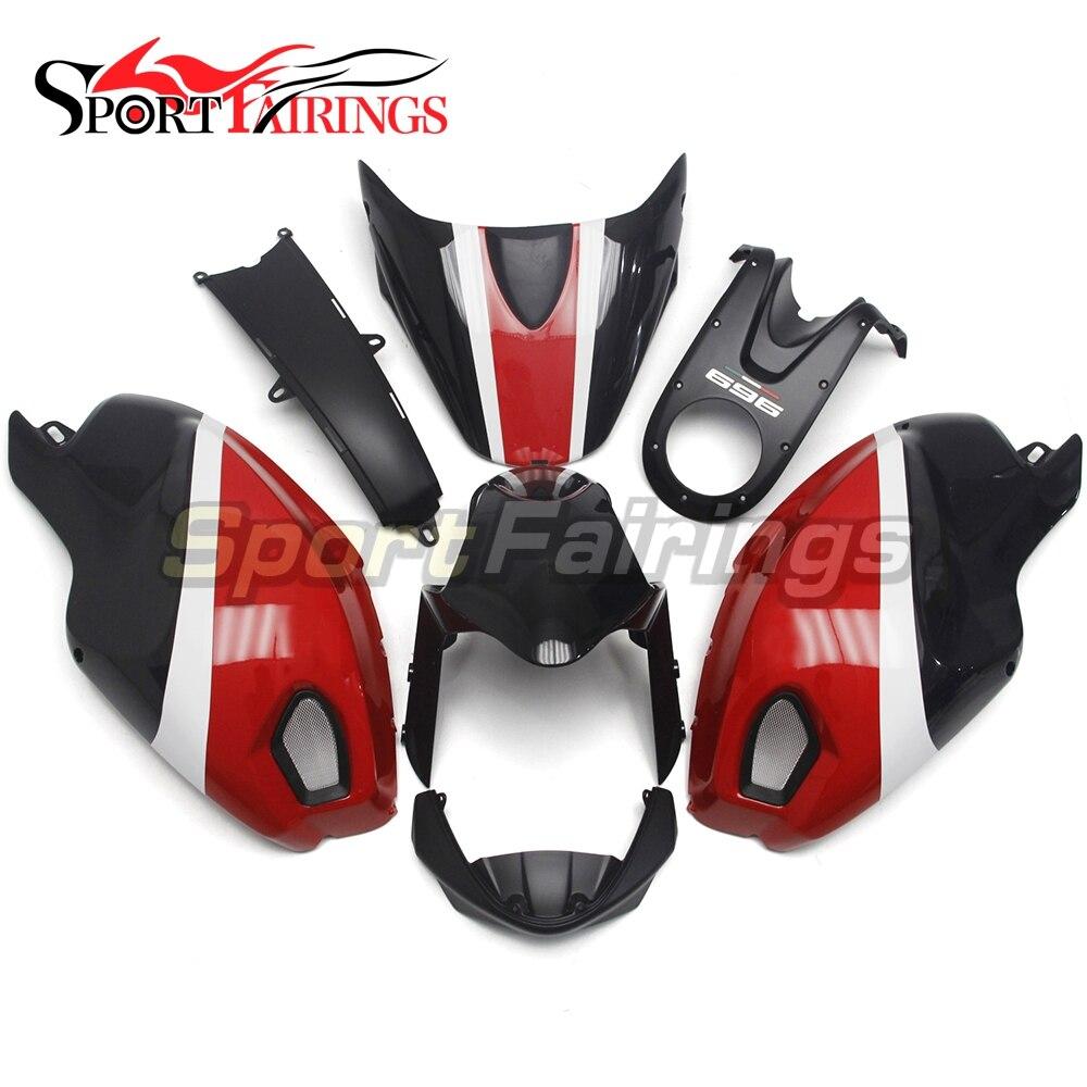 Rojo Negro nuevo carenado de motocicleta para Ducati 696, 796, 795, 1000, 1100, año 2009, 2010 de 2011 de inyección de plástico ABS Kit de carenado cubierta