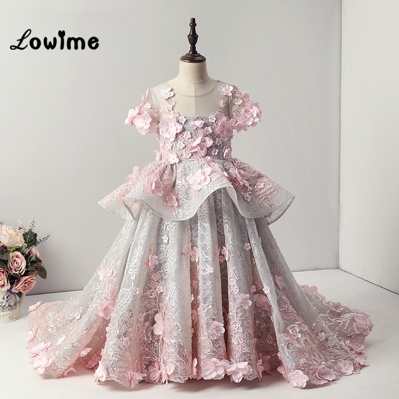 Custom Made 3D   Flower   Communion   Dresses     Flower     Girl     Dresses   2018 Beautiful   Girls     Dresses   For Party and Wedding Children   Dress
