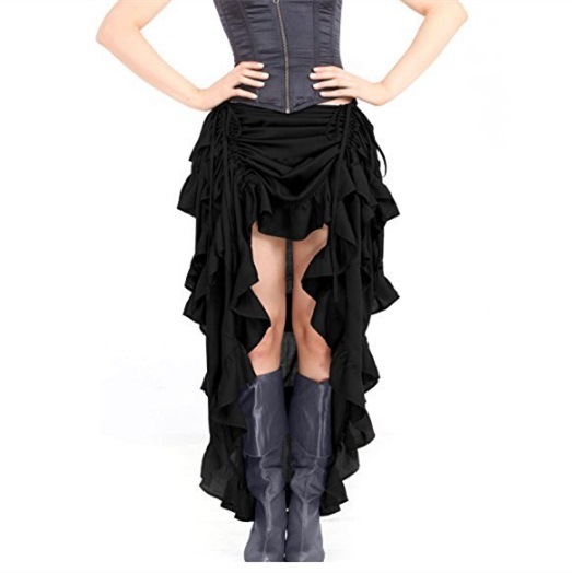 Halloween Gothic Pirate Skirt Steampunk Cocktail Party Skirts High-Low Elastic Waist Corset Skirt