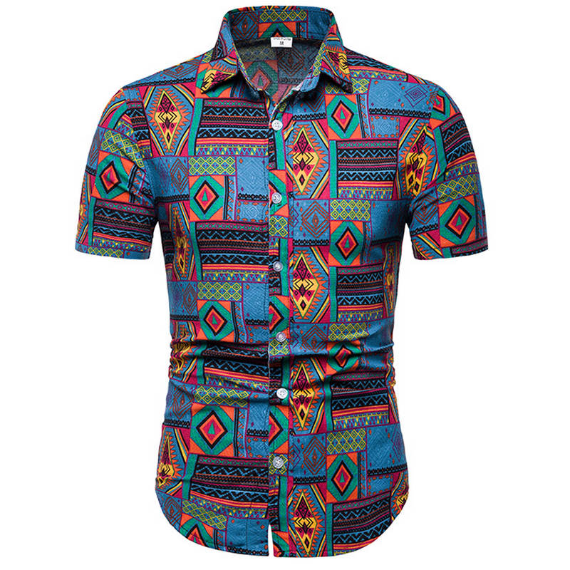2019 New Summer Mens Short Sleeve Beach Hawaiian Shirts Cotton Casual Floral Shirts Regular Plus Size 5XL Mens Shirts  Fashion