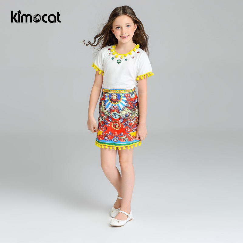 Kimocat Summer Baby girl Clothes Kids Clothes Lovely Girls sets Princess Cotton High quality diamond inlays children clothingKimocat Summer Baby girl Clothes Kids Clothes Lovely Girls sets Princess Cotton High quality diamond inlays children clothing