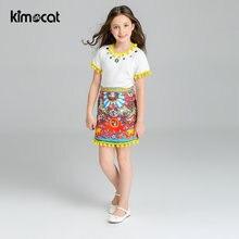 Kimocat летняя одежда для маленьких девочек детская милые комплекты
